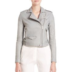 IRO Ashville Leather Moto Jacket ($1,260) ❤ liked on Polyvore featuring outerwear, jackets, apparel & accessories, light grey, embellished leather jacket, real leather jacket, long sleeve jacket, iro jacket and leather biker jacket
