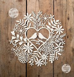 SVG / PDF Love Birds Foliage Design - Papercutting Template to print and cut yourself (Commercial Use)