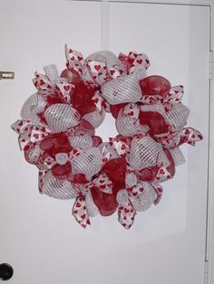 Valentine's Day Deco Mesh Wreath by SouthernThrills on Etsy, $45.00