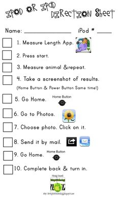accountability worksheet. Students also take a screen shot of their work, and use the mail app to email the picture to their teacher