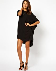 shift dress, asymmetric hem