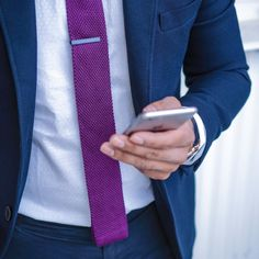 Purple Knit Tie and Navy Blue Suit