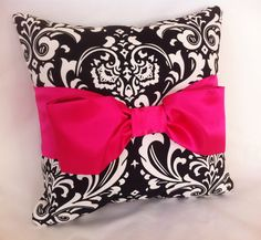 Decorative Pillow  Black & White Damask Hot Pink by leahashleyokc, $50.00