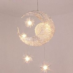 Getop Modern Cosy 5G4 Warm White LED Chandelier Bright Silver Lamp Body Moon And Stars Lamps For Childrens Room  Restaurant  Balcony *** You can find out more details at the link of the image.