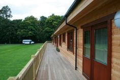 Long veranda overlooking the sports field at Bexwyke Lodge, Manchester