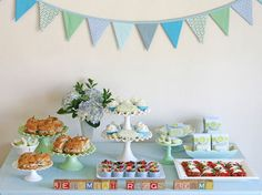 elegant glory blue green boy baby shower dessert table with antique blocks