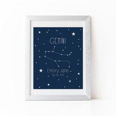 Personalized Zodiac Constellation Nursery Art  by StarbriteStudio