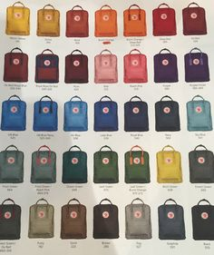 Fjällräven Kånken backpack colors