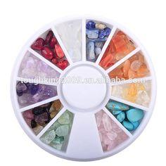 Colorful Mixed Shape Nail Art Natural Stone Stickers In 12 Column Nail Art Display Box