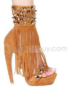ゴージャスなスティレットヒールプラットフォームオープンつま先女性靴