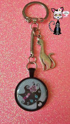 BIJOUX PORTE-CLÉS CABOCHON CHAT KAWAII CHIBI PUSSY LOU FLEUR BOHO : Porte clés par bijoux-songedete