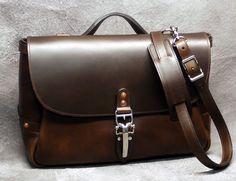 Chicago 16 Mailbag Dark Brown Horween by NormCahnLeatherworks