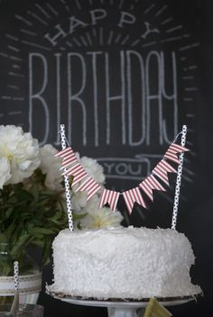 paper ribbon bunting! Birthday Party Celebration, Birthday Cake, Paper Ribbon, Chalk Art, Bunting, Party Time, Joseph, Party Ideas, Sweets