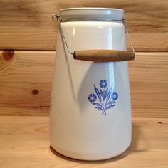 One of a Kind Corning Ware Blue Cornflower Vase Utensil Holder Repurposed Upcycled 9 Cup Percolator Pot on Etsy, $35.00
