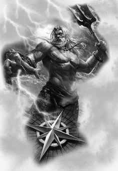 Incredible Poseidon - Incredible Poseidon You are in the right place about Unglaubliche Poseidon Tattoo Design - Poseidon Tattoo, Zeus Tattoo, Poseidon Drawing, Thor Tattoo, Biker Tattoos, Motorcycle Tattoos, Tattoo Sleeve Designs, Sleeve Tattoos, Tattoo Drawings