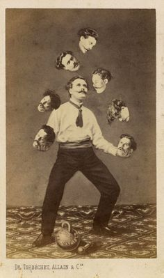 Unidentified artist. Man Juggling His Own Head ca. 1880 -- This is how I feel right now...too many thoughts, tasks, decisions ...A.M.