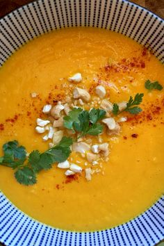 Deliciously Simple Carrot Soup  This soup has some serious waves of flavor going on – with subtle Thai noes thanks to the curry paste and coconut milk, it carries from sweet to a little spicy, with delicious added creaminess and crunch from the cashews and toppings.