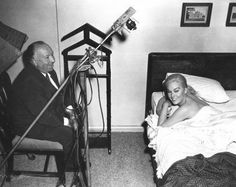 "Alfred Hitchcock and Kim Novak on-set of ""Vertigo""."