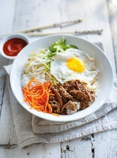 Bibimbap (Korean Rice, Vegetable, Egg and Beef Bowl) - ajfloral. Wine Recipes, Asian Recipes, Beef Recipes, Dessert Recipes, Cooking Recipes, Healthy Recipes, Ethnic Recipes, Korean Rice, Korean Food