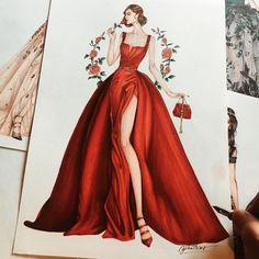 8,231 個讚,78 則留言 - Instagram 上的 Eris Tran(@eris_tran):「 I'm Queen of rose ! Inspired by @eliesaabworld haute couture fall 2017 #fashionsketch… 」
