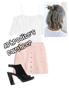 A fashion look from August 2016 featuring off-the-shoulder blouses, a-line skirts and block heel shoes. Browse and shop related looks. Block Heel Shoes, Inspired Outfits, Aphrodite, Percy Jackson, A Line Skirts, Skater Skirt, Off The Shoulder, Fashion Looks, Daughter