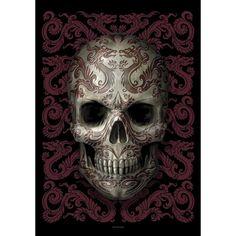 """#Bandiera """"Oriental Skull"""" di Anne Stokes con stampa."""