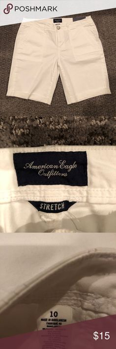 American Eagle white Bermuda shorts These shorts are size 10. Never worn. Tags still attached. Comes from a smoke free home. Discounts given for bundles 😁👍 American Eagle Outfitters Shorts Bermudas