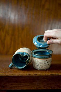 Rustikale Woodlandblau Keramik Zucker von juliaedean auf Etsy