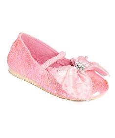 Pink Rhinestone Bow Ballet Flat