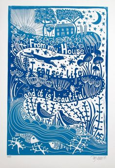 """Life is beautiful, XL blue and white linocut"" by Mariann Johansen-Ellis. Linocut on Paper, Subject: Landscapes, sea and sky, Illustrative style, From a limited edition of 50, Signed and numbered on the front, This artwork is sold unframed, Size: 70 x 48 x 1 cm (unframed), 27.56 x 18.9 x 0.39 in (unframed), Materials: linoleum, blockprinting ink, Zerkall printmaking paper, rollers, lino cutters, artists skill and imagination, etching press"