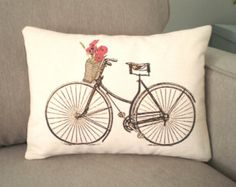 Lumbar Bike Pillow Cover, Bicycle Cushion, Throw Pillow, Vintage Bicycle with Red Orange Poppies Print, 3 Fabrics One 12 x 16 or 12 x 18