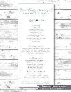 rustic wedding program, ceremony, program, wedding party, order of ceremony, PRINTABLE by SimplyModernDesignx on Etsy