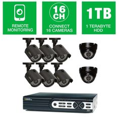 Q-SEE HeritageHD Series Wired 16 CH 720p 1TB Video Surveillance System with (6) 720p Bullet Cameras and (2) 720p Dome Cameras