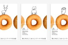 """""""floresta"""" is a dounuts company founded in Nara, Japan in is particular about using natural ingredients. Food Graphic Design, Food Poster Design, Menu Design, Love Design, Graphic Design Illustration, Nara, Catalog Printing, Cake Logo Design, Layout"""