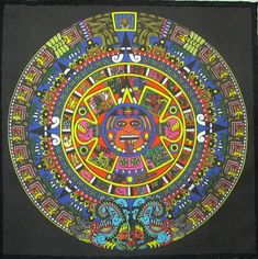 Embellishments & Finishes Large Aztec Calendar - Mayan - Back Patch Sized - Printed Patch - Sew On-Jacket! Free Mosaic Patterns, Aztec Symbols, Aztec Calendar, Marquesan Tattoos, Indigenous Art, Mexican Art, Sew On Patches, Cotton Canvas, Poster Prints
