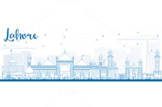 Outline Lahore Skyline by Igor Sorokin on @creativemarket
