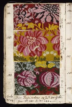 Textiles - * * A Collection of Textile Sample Books. & Century) * * * Sample books were extremely popular way for manufactures or seamstress to show Motifs Textiles, Vintage Textiles, Textile Patterns, Textile Design, Fabric Design, Print Patterns, Pattern Design, Cloth Patterns, Floral Patterns