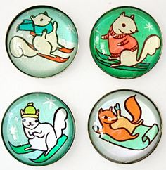 skiing squirrels glass magnet set at http://shop.boygirlparty.com