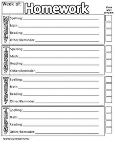 Homework Checklist Cover Sheet