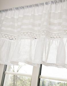 Shabby Rose Negozio Online - Landhaus tenda-Häkelgardine-bianco tende interni-svedese, tende ricamate tenda tenda Estate sciarpa arruffato trim-Shabby-chic