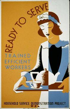 Tea, Miss?  WPA poster for a servants' training program