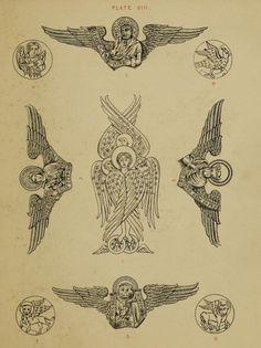 "the-two-germanys: "" Plate VIII. Handbook of Christian Symbolism William Audsley London: Day & Son, Ltd. Tattoo Drawings, Art Drawings, Esoteric Art, Christian Symbols, Occult Art, Biblical Art, Illustration, Angel Art, Medieval Art"