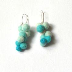 Spring jewelry  needle felted earrings  light blue  by vilnone