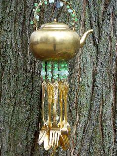 Teapot Windchime Repurposed Silverware Chime by malindadickens, $40.00