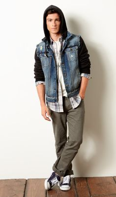 {Aeropostale} - Light Wash Bleached Denim Vest, A87 Full-Zip Hoodie, Long Sleeve Plaid Woven Shirt, Vitruvian Dalek Graphic T, Slim Straight Color Wash Jean