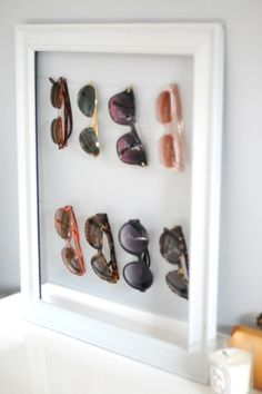diy organization: an old frame and wire makes perfect sunglass storage