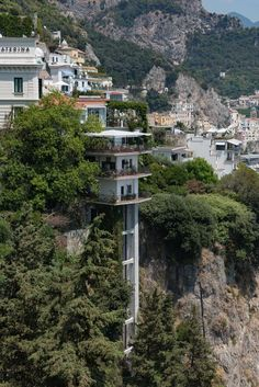 One of Amalfi's many amazing beautiful buildings built right into the cliffside of Italy