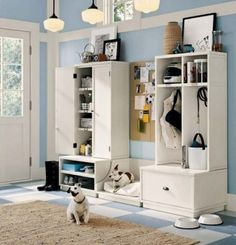"""Mud room. Not only do I love the storage and doggie beds, I love the sort of """"diner floor"""" look of that tile."""