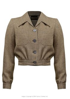 1940s Style Americana Buttoned Jacket in Oatmeal tweed