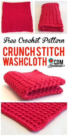 Check out this quick and easy FREE crochet wash cloth pattern for my Crunch Stitch Crochet Washcloth. This pattern works up fast and is great for dishes! From CDM Handmade- crochet dishcloth pattern CDM Handmade – my crafty little corner of the internet Stitch Crochet, Knit Or Crochet, Crochet Gifts, Free Crochet, Slip Stitch, Single Crochet, Washcloth Crochet, Crochet Dishcloths Free Patterns, Crochet Wash Cloths